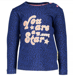 B.Nosy: Longsleeve allover panter print 'You are.. star' blauw