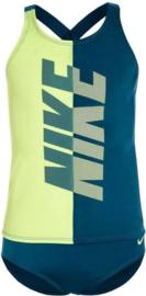 Nike: Swim Crossback Tankini Set Meisjes Bikini Neon Geel/ Blauw