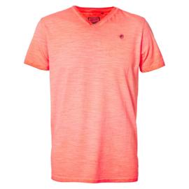 Petrol: T-shirt V-hals - Koraal
