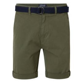 Petrol: Korte broek met riem - Kaki groen