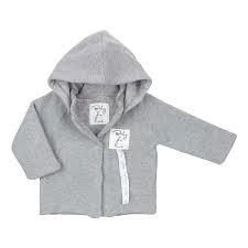 Baby deLuxe: Vestje gebreid met afneembare capuchon - grijs