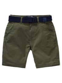 Petrol: jongens chino shorts met riem- Groen
