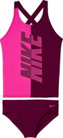 Nike: Swim Crossback Tankini Set Meisjes Bikini - Laser Fuchsia