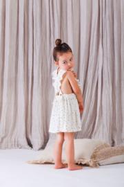 House of Jamie: Meisjes Ruffled Salopette Dress - Cream Black Dots