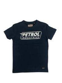 Petrol: T-shirt blauw met logo B-1000-SP-TSR616