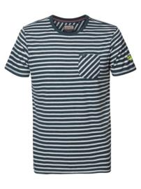 Petrol: T-shirt gestreept met pocketvakje - Groen