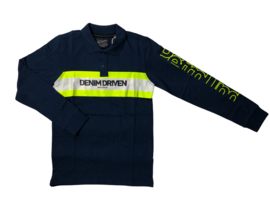 Petrol: long sleeve polo donkerblauw