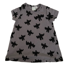 Little Man Happy: Bats baby shirt dress - Zwart/Grijs