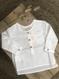 Petit Indi: Overhemd met ronde hals - ecru