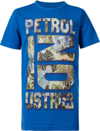 Petrol: T-shirt blauw met opdruk