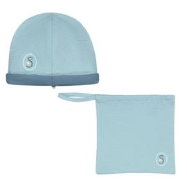 Smitten Organic: Reversible hat blue print