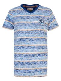 Petrol: T-shirt Gestreept - blauw/oranje