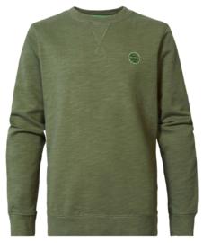Petrol: Sweater  met logo - dusty army