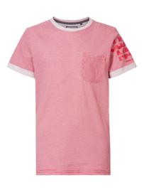 Petrol: T-shirt gestreept met pocketvak en logo - Rood