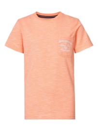 Petrol: T-shirt logo patch - Neon koraal