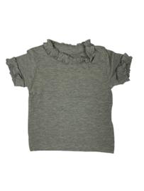 BabydeLuxe: T-Shirt Ruffles - grijs gemeleerd