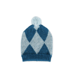 Imps & elfs: Gebreide muts - Ruit blue