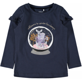 Name it: Longsleeve 'Welcome to winter landscape' - Navy