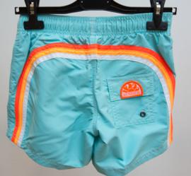 Sundek: Zwembroek  licht blauw met regenboog oranje / wit