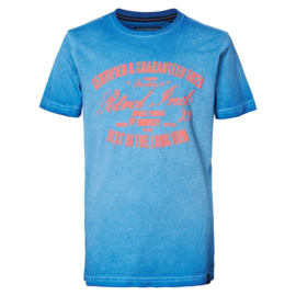 Petrol: T-shirt blauw met oranje opdruk