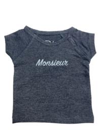 Baby de Luxe: donkerblauw T-shirt 'Monsieur'