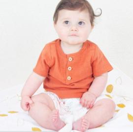 Kapoune: T-shirt Iwate - bruin/oranje