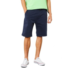 Petrol: Korte broek met riem - Donkerblauw