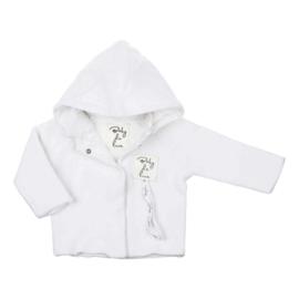 Baby deLuxe: Vestje gebreid met afneembare capuchon - wit