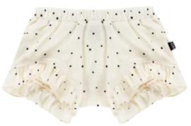 House Of Jamie: Girls Ruffled Shorts - Cream black dots