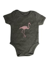 Baby de Luxe: Romper Flamingo grijs - BDL