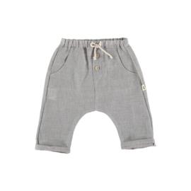Petit Indi: pants - wit/grijze streep
