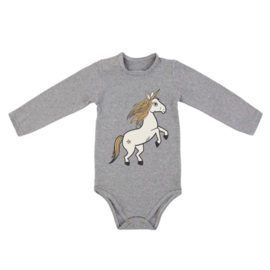 Dear Sophie: grey unicorn long sleeve romper