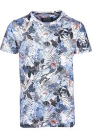 Petrol: T-shirt allover plants - Blauw