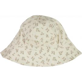 Wheat: Baby girl sun hat - eggshell flowers