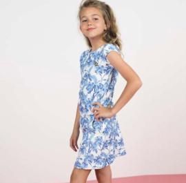 Like Flo: white dress blue print