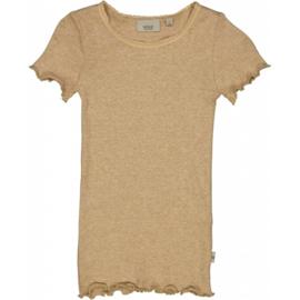 Wheat: Rib T-shirt Lace - Sand Melange