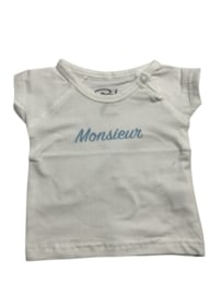 Baby de Luxe: wit T-shirt 'Monsieur'