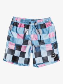 Quiksilver: Zwembroek Blok Patroon - blauw/zwart/roze
