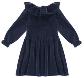 House of Jamie: Pierrot Collar Dress - Midnight Velvet Blue