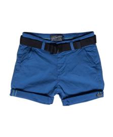 Petrol: korte blauwe broek met riem B-1000-SHO504