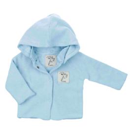 Baby deLuxe: Vestje gebreid met afneembare capuchon - blauw