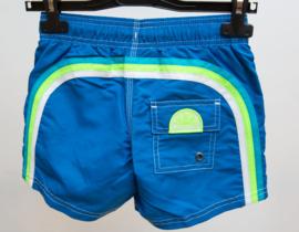 Sundek: Boardshort blauw met regenboog groen