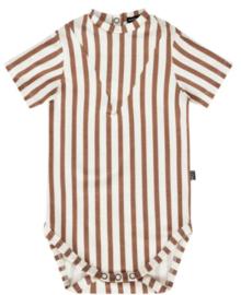 House of Jamie: V Bodysuit - Toffee Stripes