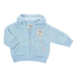 Baby de Luxe: Capuchonvest licht blauw met rits