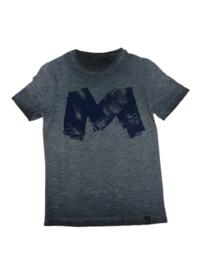 Petrol: T-shirt blauw met spijkerbroeken opdruk - B-1000-TSR673