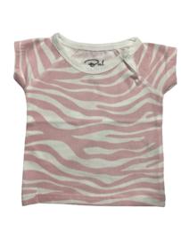 Baby de Luxe: T-shirt zebra wit/roze