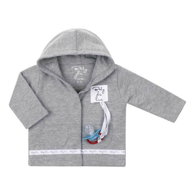 Baby deLuxe: Vestje katoen met speenkoord grijs - BDL10