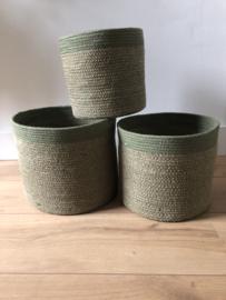 Set van 3 groene jute manden