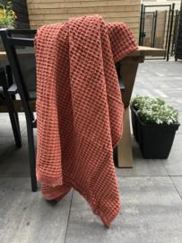 Plaid wafel 130x170 cm katoen met een velours border van 3 cm in de kleur rust