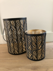 Lantaarn metaal zwart goud 30x20 cm